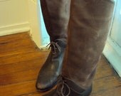 Vintage Brown Leather Tall Pirate Boots