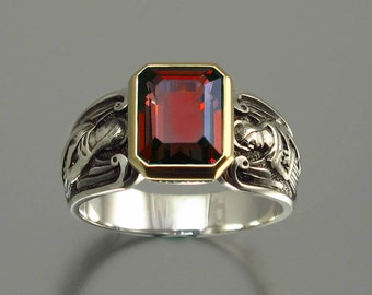 GUARDIAN ANGELS silver and 14K ring with emerald cut Garnet