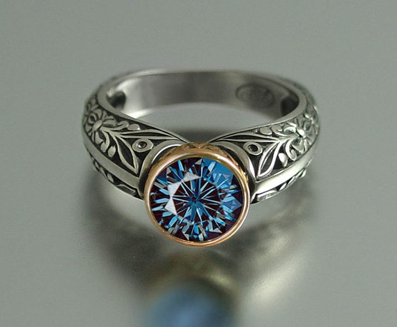 The BLUE COUNTESS ring in 14k and silver RESERVED for L.