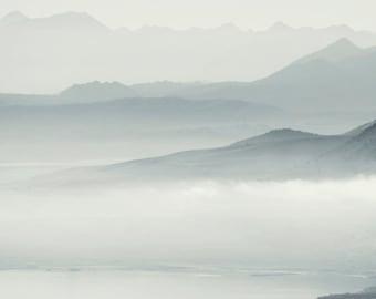 Mono Lake - Fog Photos - Landscape Photography - Travel Decor - Blue and White - Minimalist Print