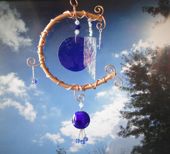 Once in a Blue Moon, Glass and Copper Windchime, Mobile, Wall Hanging