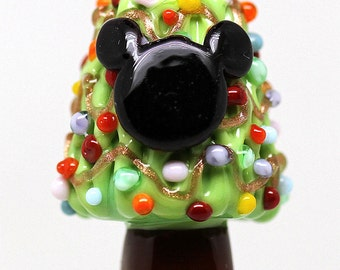 Made to order Margo lampwork beads Christmas tree Mickey