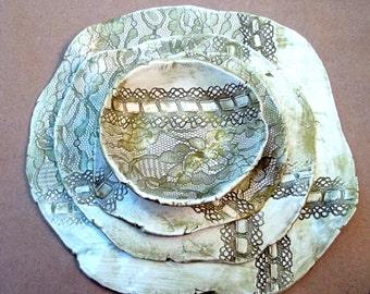 Ceramic  Lace Sushi Set Sage Green