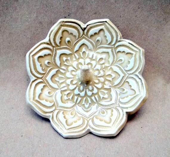 Mustard Yellow Ceramic Lotus Ring Holder Bowl