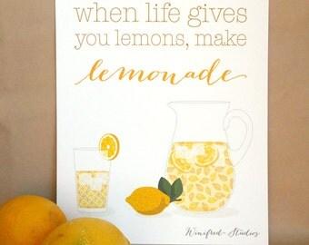 Lemons to Lemonade - 8x10 Inspirational Quote Art Print