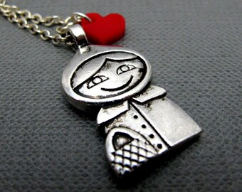 """I Love Red Riding Hood Necklace // Silver Charm // Tiny Red Acrylic Heart // 17"""" Silver Chain // Details Both Sides // Gift under 20"""