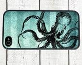 Blue Octopus Phone Case for  iPhone 4 4s 5 5s 5c SE 6 6s 7  6 6s 7 Plus Galaxy s4 s5 s6 s7 Edge