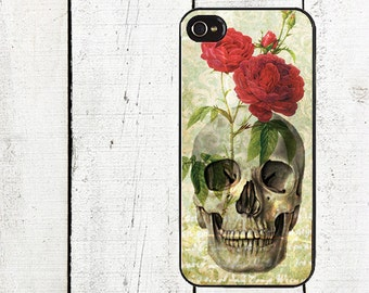 iphone 6 case Skull and Roses  iPhone Case - Day of the Dead Cell Phone Case - iPhone 4, 4s - iPhone 5 Case - Blue Swirls - Galaxy s3 s4 s5
