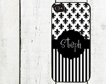 Fleur de Lis & Stripes Monogram Cell Phone Case - Personalized Cell Phone Case - Black Fleur de Lis iPhone 5 - iPhone 4,4s - Galaxy s3 s4 s5
