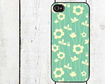 iphone 6 case Teal Flower Cell Phone Case - Pattern iPhone 4 Case - Cell Phone Case - iPhone 5 Case