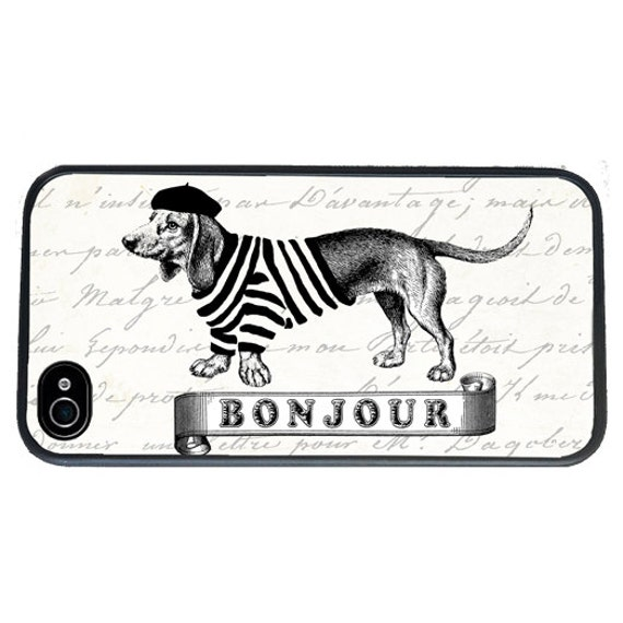 iphone 6 case Dachshund iPhone case, fits iPhone 4, 4s, Daschund iPhone Case, French, Bonjour - iPhone 5 Case - Galaxy s3 s4 s5