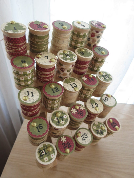 Advent Calendar - Wooden Spool Thread Holder  - Traditional Country Holiday Countdown