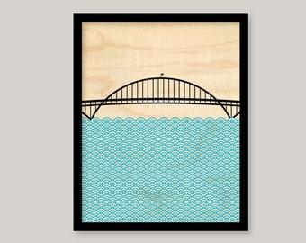Oregon Fremont Bridge Print On Wood