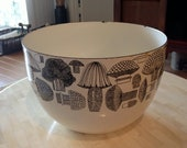 Vintage Finel Kaj Franck Enamel Mushroom Bowl - Arabia of Finland - Danish Modern -