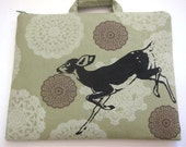 iPad Case Fawn on Green Olive Doily Print Linen