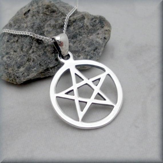 Pentacle Necklace Pentagram Necklace Sterling Silver