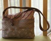 Necktie shoulder bag in browns, tans, silk, cotton lined, No. 432