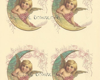 Digital Download.Angel,cherub, four identical images.  Great one