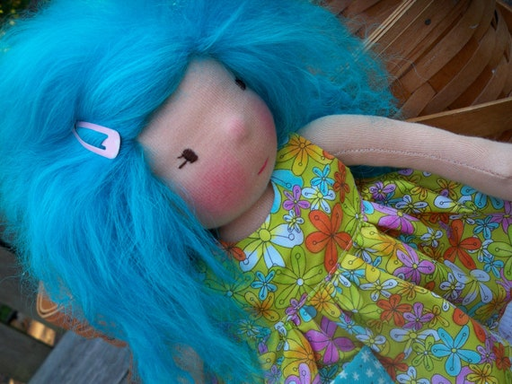 "Waldorf doll Dress for a 14"" doll Flower Power"