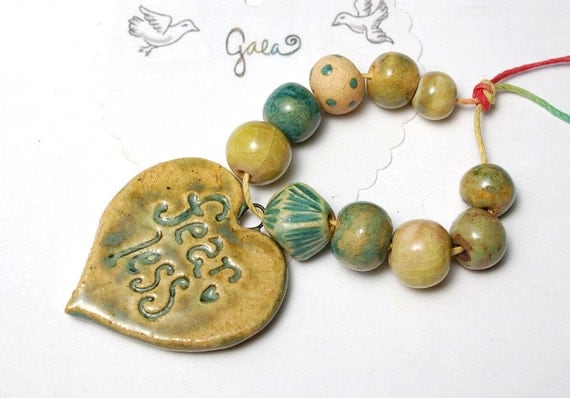 RESERVED for the lovely outsidetheboxx / Be Fearless / Green Ceramic Pendant and Bead Set