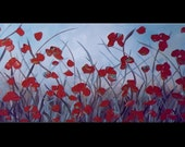 art abstract original painting art abstract painting acrylic painting XLG texture poppies painting 48 x 24