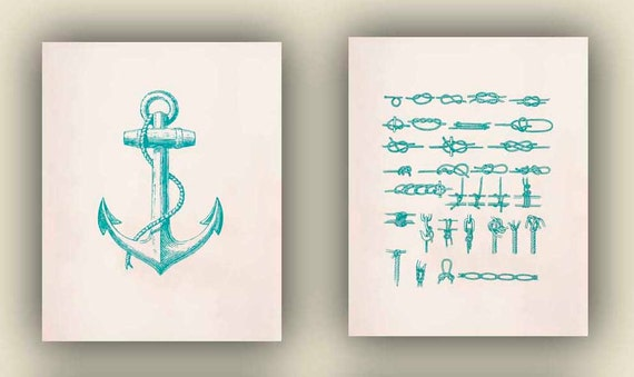 Nautical art, Nautical Prints posters, sailor knots, Anchor,Coastal living, marine decorative arts, beach cottage decor, 2 teal 8x10 prints,