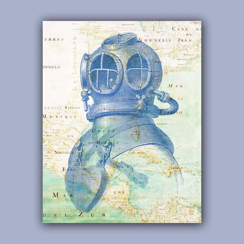 Nautical print Diver Helmet Print 11x14 Print Vintage image