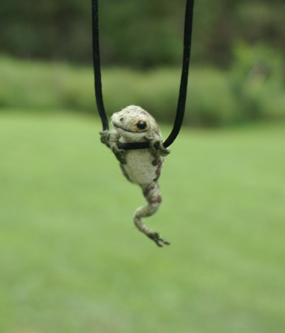 Tiny Frog Necklace - needle felted