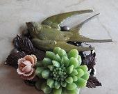 Verdigris Bird Brooch, Antique Brass,  Swallow, Cream and Green Flowers, Grandmother Gift