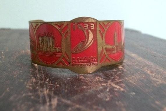 Red Enameled 1933 World's Fair Art Deco Cuff Bracelet