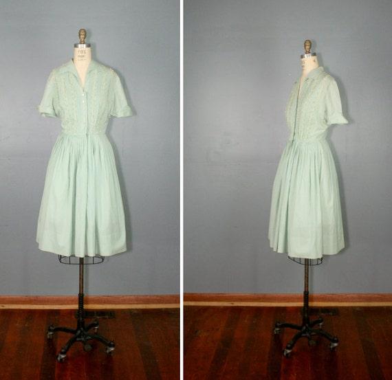 R E S E R V E D . vintage . 1950s . shirtwaist . MINT JULEP . cotton . short sleeve . dress