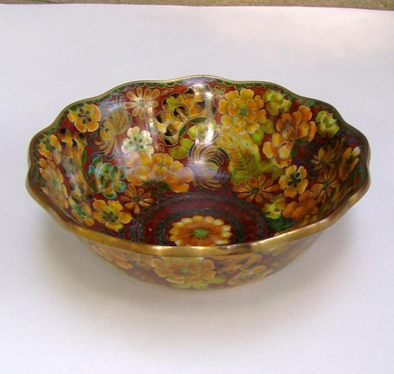 RESERVED FOR WAYNE Round Cloisonne Bowl w/ Floral Decoration Brass Inlay Ruffled Edge early 20c.