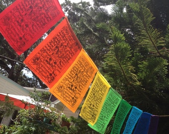 Rainbow Wind Horse Prayer Flags set of 9