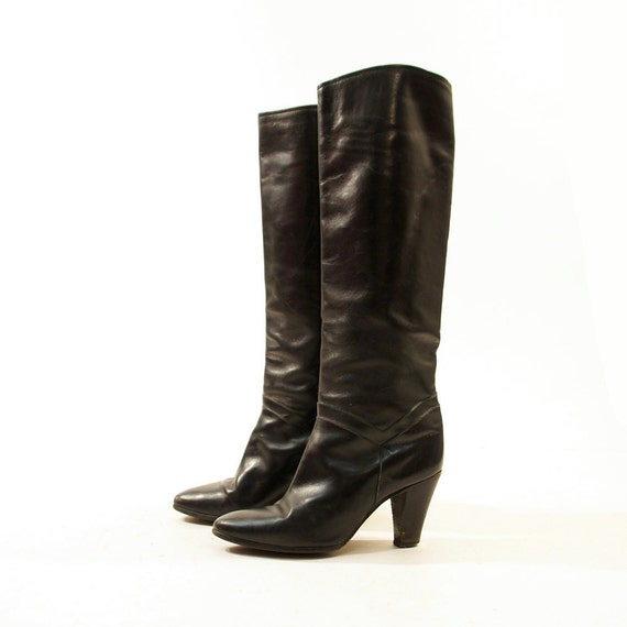 80s knee high leather boots pull on black leather