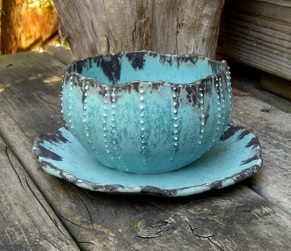 lovely sea urchin planter and tray set weathered turquoise blue and black bronze plant pot made