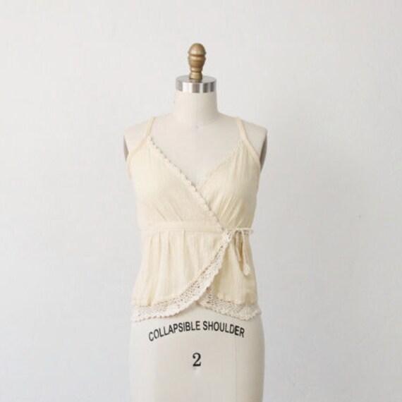 Cream Vintage Crochet Trim Wrap Top