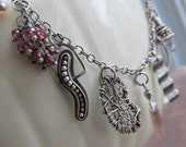 Short silver Necklace Short Wire Wrapped Charm Necklace Boho Funky Stamped