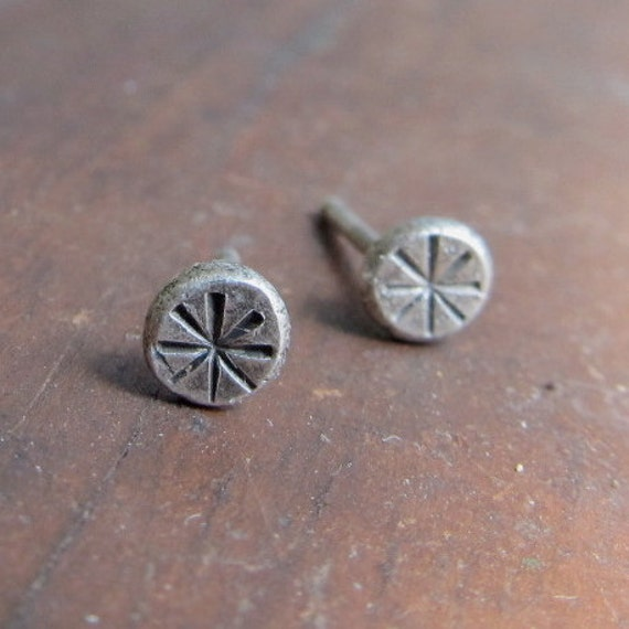 teeny Tiny Silver Studs Post Earrings Sterling Button Funky