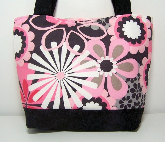 Flower Shower Purse Pink and Gray