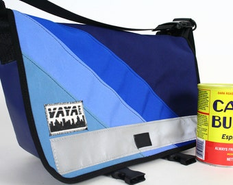 Petite Canvas Messenger Bag in Shades of Blue
