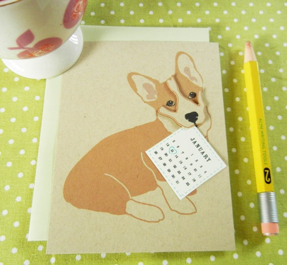 Custom Birthday Jer Jer the Welsh Corgi Calendar Note Card with Envelope