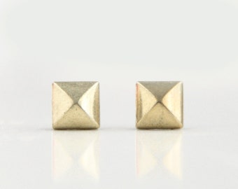 Matt Gold Geometric Pyramid Metal Stud Earrings. Surgical Steel Earrings Post. Gift for Her