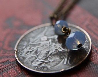 Blueberry Necklace with Antique French Coin and Swarovski Crystals