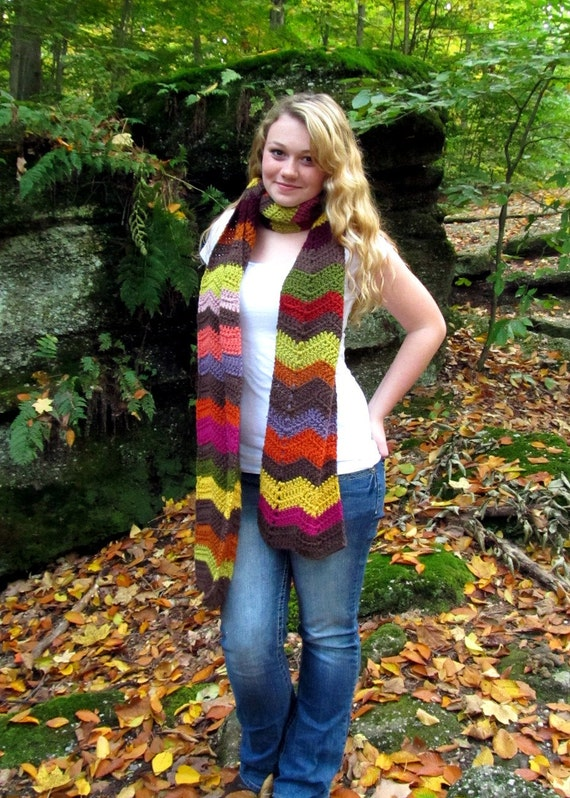 Multicolor Chevron Scarf Extra Long Warm Brown with Stripes