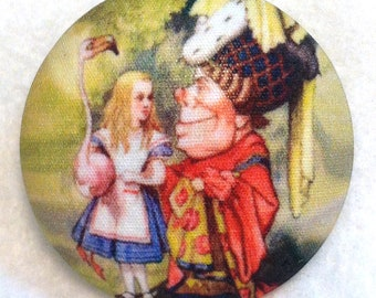 Alice in Wonderland -  Queen of Hearts - Hand Printed Fabric Covered Button 1 and 1/2 inch FREE US SHIPPING