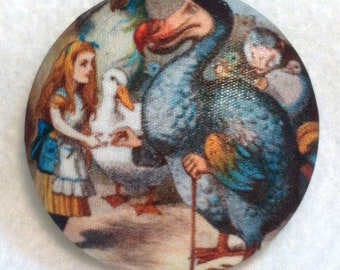 Alice in Wonderland - Dodo Bird - Hand Printed Fabric Covered Button 1 and 1/2 inch