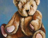 Classic Teddy Bear, 8x10 print of original painting