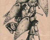 Christmas Rubber stamp Angel trio scrapbooking supplies holiday 17962