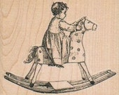 Rubber stamp Baby On Rocking Horse  Rubber Stamp  14083