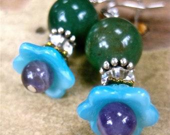 free shipping Pierced earrings Moss agate, amethyst, Swarovski crystals Czech pressed glass flowers